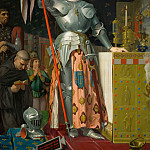 Ingres, Jean Auguste Dominique -- Jeanne d'Arc au sacre du roi Charles VII dans la cathedrale de Reims, 1429. Joan of Arc at the coronation of King Charles VII in the cathedral at Reims, July 1429 Canvas, 240 x 178 cm, 1854 M.I. 667, Part 1 Louvre