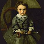 Part 1 Louvre - Corot, Jean-Baptiste Camille -- Maurice Robert as a child. Oil on canvas (1857) 29 x 23 cm RF 2600