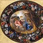 Part 1 Louvre - Charles de la Fosse, wreath of flowers by Jean-Baptiste Monnoyer -- Annunciation