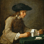 Chardin, Jean-Baptiste Simeon -- Le chateau de cartes-a house of cards. Oil on canvas 77 x 68 cm Mi 1032, Part 1 Louvre