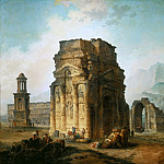 Robert, Hubert -- L'Arc de Triomphe et le theatre d'Orange. The ruins of the Roman triumphal arch and the theatre at Orange, France. 1787 Canvas, 242 x 242 cm Inv.7647, Part 1 Louvre