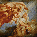 Rubens, Peter Paul -- Genius crowning Religion, sketch for the center of the apotheosis of King James I, fresco on the ceiling of Whitehall, London.Painted 1629-1634. Wood, 41, 5 x 49 cm M.I.969, Part 1 Louvre