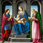 Lorenzo di Credi -- Madonna and Child with Saints Julian and Nicholas of Myre, Part 1 Louvre