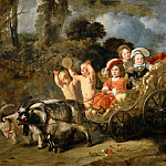 Ferdinand Bol -- Aristocratic Children in a Carriage Drawn by Goats, formerly known as Portrait of William-Henry of Nassau, the Future William II, King of the Netherlands, Part 1 Louvre