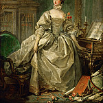 Part 1 Louvre - Boucher, Francois -- Mme. Pompadour (Jeanne Antoinette Poisson, Marquise de Pompadour) 1721-1764, influential mistress of Louis XV of France. Paper on canvas, 60 x 45, 5 cm R.F. 2142
