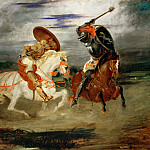 Delacroix, Eugene -- Combat de chevaliers dans la campagne-A fight between knights. Canvas, 81 x 100 cm R.F. 1655, Part 1 Louvre