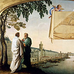 Eustache Le Sueur -- Plan of the Chartreuse de Paris carried by two angels, Part 1 Louvre