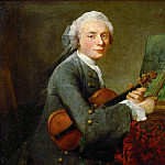 Chardin, Jean-Baptiste Simeon -- Le jeune homme au violon-young man with violin. Charles Theodose Godefroy, elder son of the jeweller Charles Godefroy Oil on canvas, 67, 5 x 74, 5 cm R.F.1706, Part 1 Louvre