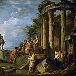 Part 1 Louvre - Giovanni Paolo Panini -- Architectural ruins with the Arch of Janus, the Temple of Vesta and the equestrian statue of Marcus Aurelius