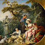 Part 1 Louvre - Boucher, Francois -- Les presents du berger, ou le nid. (The shepherd's presents, also called the nest) From the Collection of Louis XV. Canvas, 98 x 146 cm
