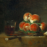 Chardin, Jean-Baptiste Simeon -- Panier de peches-a basket with peaches. Oil 32.5 x 39.5 cm MI 722, Part 1 Louvre