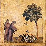 Giotto -- Saint Francis Preaching to the Birds, predella of Saint Francis of Assisi Receiving the Stigmatta, Part 1 Louvre