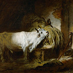 Fragonard, Jean-Honore -- Le toreau blanc a l'etable-the white bull in the stable. Canvas, 72, 5 x 91 cm R.F. 1076-10, Part 1 Louvre