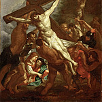 Part 1 Louvre - Rubens, Peter Paul -- L'Erection de la Croix-the raising of the Cross. Smaller copy of the painting for the church Santa Croce in Gerusalemme in Rome.Today known through a copy of the 17th belonging to the Hospice de Grasse. MNR 982