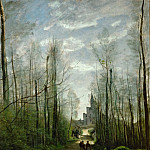 Part 1 Louvre - Corot, Jean-Baptiste Camille -- The Church of Marissel. Oil on canvas 55 x 42 cm RF 1642