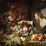 Part 1 Louvre - Abraham Brueghel (c. 1631-c. 1690) -- Woman Taking Fruit