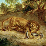 Delacroix, Eugene -- Lion and cayman, 1855 Canvas, 32 x 42 cm R.F. 1395, Part 1 Louvre