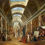 Part 1 Louvre - Robert, Hubert -- Projet d'amenagement de la Grande Galerie du Louvre en 1796 (a droite, Hubert Robert peignant) 1796 Restoring the Grande Galerie of the Louvre, 1796. On the right, Robert painting. Canvas, 112, 4 x 143 cm RF 1975-10