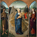 Triptych of the Rest on the Flight into Egypt (Madonna and Child with St. John the Baptist and St. Mary Magdalen), Hans Memling