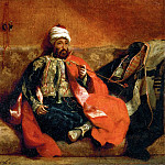 Part 1 Louvre - Delacroix, Eugene -- Turk fumant, assis sur un divan-Turk, smoking on a divan. Canvas, 25 x 30 cm R.F.1656