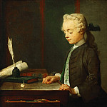 Jean-Siméon Chardin -- Portrait of the Son of M. Godefroy, Jeweler, Watching a Top Spin , Part 1 Louvre