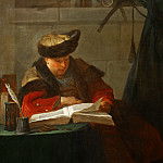 Chardin, Jean-Baptiste Simeon -- Un chimiste dans son laboratoire, dit aussi un philosophe occupee de sa lecture-a chemist in his laboratory, also a philosopher reading; a portrait of the painter Joseph Aved . Canvas, 138-105 cm R.F. 2169, Part 1 Louvre