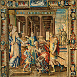 Antoine Caron , designer; woven at the Atelier du Faubourg Saint Marcel, Paris -- Tapestry Illustrating The Legend of Artemisia: Les Placets, Marque de François de la Planche, Part 1 Louvre