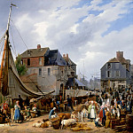 Auguste-Xavier Leprince -- Boarding of animals on the 'Passager' at the port of Honfleur, Part 1 Louvre
