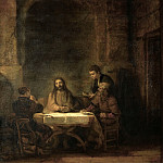 Rembrandt Harmensz van Rijn -- The Disciples at Emmaus. Oil on wood 68 x 65 cm Inv. 1739, Part 1 Louvre