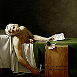 Part 1 Louvre - David, Jacques Louis -- Jean Paul Marat, politician and publicist, dead in his bathtub, assassinated by Charlotte Corday in 1793. Oil on canvas 165 x 128 cm