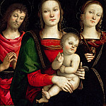 Part 1 Louvre - PERUGINO, Pietro -- Virgin and Child between Sts John the Baptist and Catherine