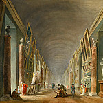 Part 1 Louvre - Robert, Hubert -- La Grande Galerie du Louvre entre 1801 et 1805-The great gallery of the Louvre between 1801 and 1805. Oil on canvas, 37 x 46 cm. RF 1964-34