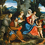 Bonifazio de'Pitati -- The Holy Family with Saint Francis, Saint Anthony, Mary Magdalen, John the Baptist, and Elizabeth, Part 1 Louvre