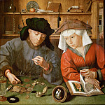 Quinten Metsys -- The Money Lender and his Wife, Part 1 Louvre
