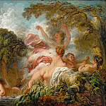 Fragonard, Jean-Honore -- Les baigneuses. The bathers. Canvas, 64 x 80 cm M.I. 1055, Part 1 Louvre