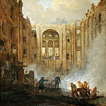 Robert, Hubert -- L'incendie de l'Opera au Palais Royal en 1781-The fire at the operahouse in the Palais Royal, 1781. Canvas, 171 x 126 cm M.N.R. 95, Part 1 Louvre