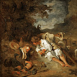 Part 1 Louvre - Fragonard, Jean-Honore -- Mercury and Argos. Thousand-eyed Argus put to sleep and killed by Mercury. Argos was watching Io the cow, loved by Zeus. Copy of a painting by Carel Fabritius. Canvas, 59 x 73 cm R.F. 1981-17