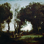 Part 1 Louvre - Corot, Jean-Baptiste Camille -- The Dance of the Nymphs (Une Matinee). Oil on canvas 49 x 77.5 cm RF 73