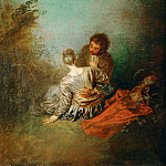Watteau, Antoine -- Le Faux Pas. Oil on canvas 40 x 31.5 cm MI 1127, Part 1 Louvre