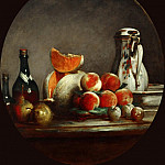 Chardin, Jean-Baptiste Simeon -- Melon, poires, peches et prunes-Melon, pears, peaches and plums -Atelier de Chardin, replica of a painting in a private collection, dated 1760. Canvas, 60 x 52 cm M.I.1034, Part 1 Louvre