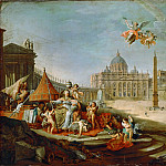 Part 1 Louvre - Giovanni Paolo Panini -- St. Peter's Square with Allegory of the Papacy.