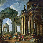 Giovanni Paolo Panini -- Sermon of an Apostle in the ruins of an architecture in Doric style, Part 1 Louvre
