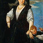 Paolo Veronese -- Portrait of a Woman with a Child and a Dog, Part 1 Louvre