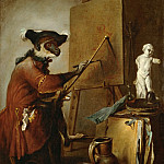 Chardin, Jean-Baptiste Simeon -- Le singe peintre-the monkey as painter. 1740 Canvas, 73 x 59, 5 cm M.I. 1033, Part 1 Louvre