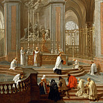 Jean-Baptiste Jouvenet -- Mass Said by the Canon de La Porte, or the High Altar of Notre-Dame de Paris, Part 1 Louvre