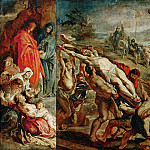 Rubens, Peter Paul -- The Elevation of the Cross, sketch for the triptych painted in 1609-1610 for the church in St.Walburg in Antwerp, now in the Antwerp Cathedral. Wood, 68 x 107 cm M.N.R.411, Part 1 Louvre