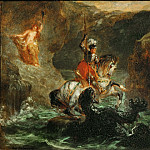 Part 1 Louvre - Delacroix, Eugene -- Saint Georges combattant le dragon, dit aussi Persee delivrant Andromede-Saint George fighting the dragon, also called Perseus delivering Andromeda. Paper on Canvas, 28 x 36 cm R.F. 1396