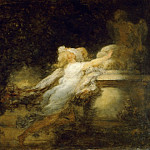 Fragonard, Jean-Honore -- Le Voeux a l'Amour . Oil on wood 24 x 32.5 cm RF 1722, Part 1 Louvre