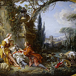 Boucher, Francois -- Les charmes de la vie champetre-the delights of life in the country. Canvas, 100 x 146 cm INV. 2726, Part 1 Louvre