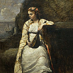 Haydee, jeune femme en costume grec-young woman in Greek costume, perhaps the heroine of Byron's Don Juan. Canvas, 60 x 44 cm R.F. 1965-5, Jean-Baptiste-Camille Corot